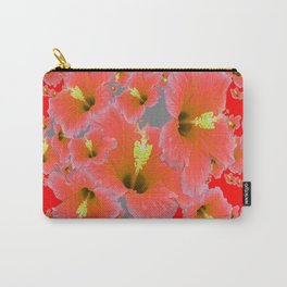 RED MODERN ART CORAL PINK HIBISCUS GARDEN ART Carry-All Pouch