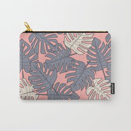 Monstera Peach Pattern Carry-All Pouch