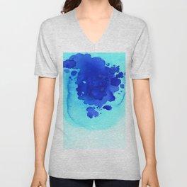 Blue turquoise ocean art Unisex V-Neck