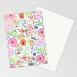 Pretty watercolor hand paint abstract floral Stationery Cards