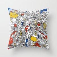 mondrian Throw Pillows featuring Berlin mondrian by Mondrian Maps
