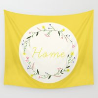 home sweet home Wall Tapestries featuring Home by Babiole Design