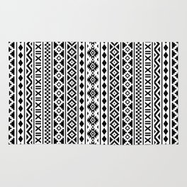 Aztec Essence Pattern Black on White Rug