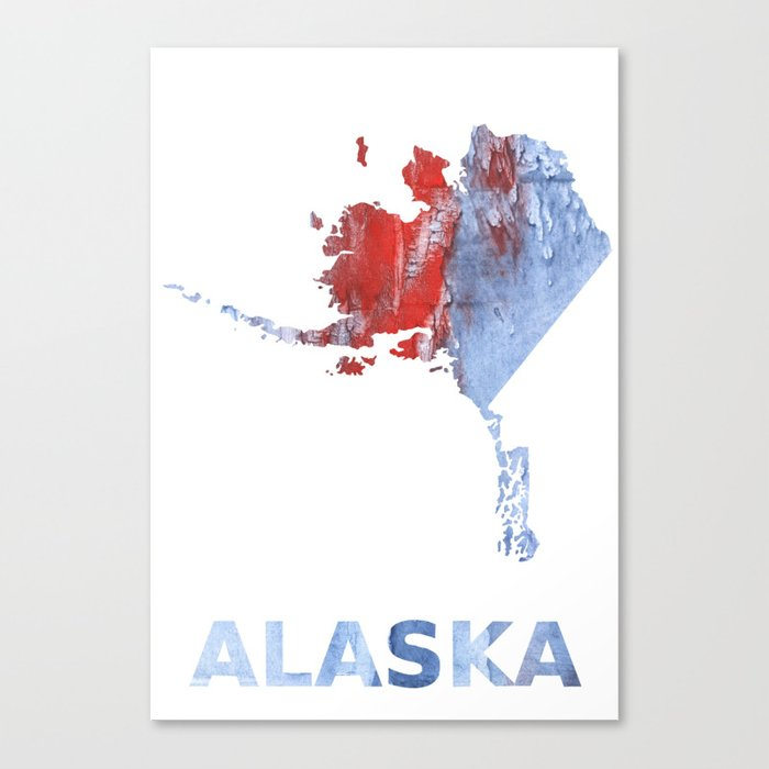 Alaska map outline Red blue steel colorful wash drawing design Canvas Print