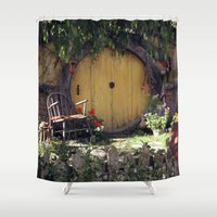 the hobbit Shower Curtains featuring The Hobbit by Cynthia del Rio