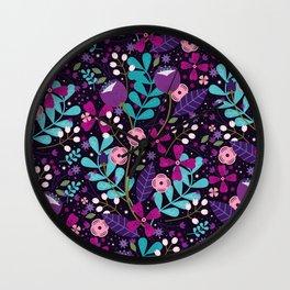 Starlight Blooms Wall Clock