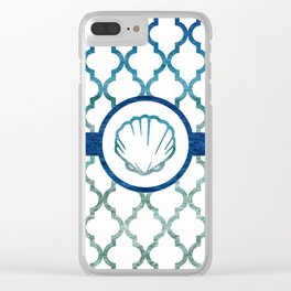 Clam Shell: Tropical Water Moroccan Pattern Clear iPhone Case
