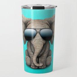 Cute Baby Elephant Wearing Sunglasses Travel Mug
