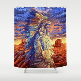 native american colorful portrait Shower Curtain