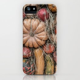 Pumpkins on hay iPhone Case