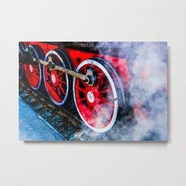 Red Wheels White Steam Metal Print