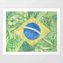 Brazilian Flag - Flowers and Plants - Watercolor - Colored Pencil - Hand drawn - Art Print Art Print
