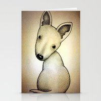bull terrier Stationery Cards featuring Bull Terrier Pup by Caroline Blicq