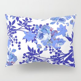BLUE AND WHITE ROSE LEAF TOILE PATTERN Pillow Sham