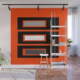 Retro Abstract Tiki Print on Orange Wall Mural
