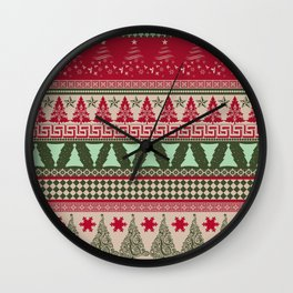 Pine Tree Ugly Sweater Wall Clock
