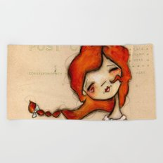 Yours truly - Vintage Postcard Inspired Artwork Beach Towel
