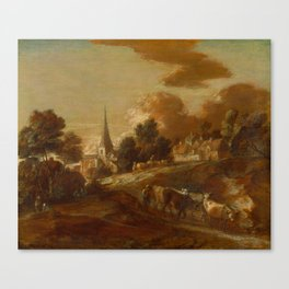 """Thomas Gainsborough """" An Imaginary Wooded Village with Drovers and Cattle"""" Canvas Print"""