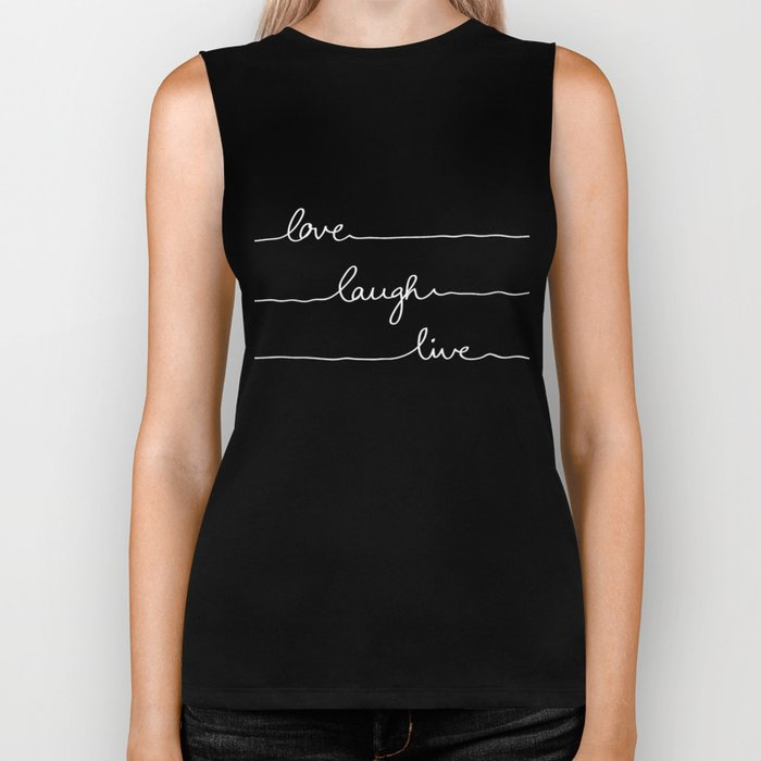 Love Laugh Live (Black) Biker Tank