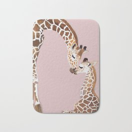 Giraffe mother and baby Bath Mat