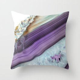 Purple Agate Slice Throw Pillow