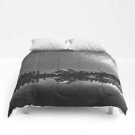 Summer Stars Black and White - Galaxy Mountain Reflection Comforters