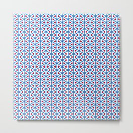 Vibrant Red and Blue Triangle Grid Metal Print