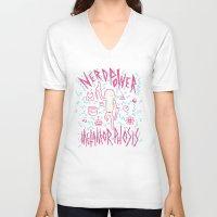 8bit V-neck T-shirts featuring NERD POWER METAMORPHOSIS / 8BIT by UNDEAD MISTER / MRCLV