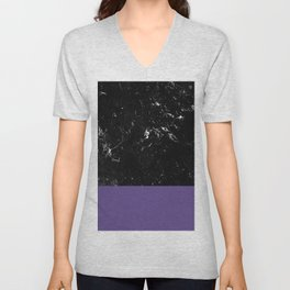 Ultra Violet Meets Black Marble #1 #decor #art #society6 Unisex V-Neck