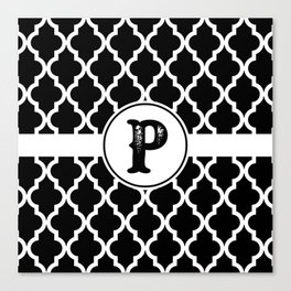 Black Monogram: Letter P Canvas Print