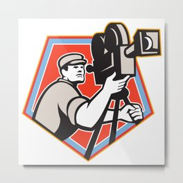 Cameraman Vintage Film Reel Camera Retro Metal Print