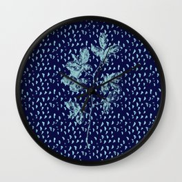 Navy and aqua blue faux glitter raindrops and foliage Wall Clock