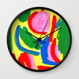 Primary Colors Colorful Abstract Modern - What Colors of Flowers Did You Like When You Were Kids? Wall Clock