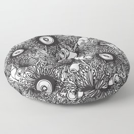 Gumnut & Eucalyptus flowering Black & White Love Floor Pillow