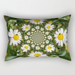 Magic Field Summer Grass - Chamomile Flower with Bug - Polarity #1 Rectangular Pillow