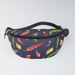 Ink and watercolor hot chillies pattern on navy background Fanny Pack