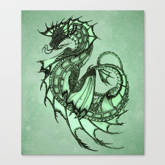 """Tsunami"" by Amber Marine ~ Sea Dragon (Jade Version) ~ Graphite & Charcoal Illustration, (c) 2005 Canvas Print"