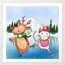 Cat and Reindeer go ice skating Art Print