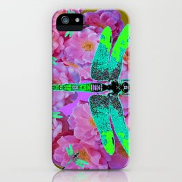 EMERALD DRAGONFLIES  PINK ROSES AVOCADO COLOR iPhone Case