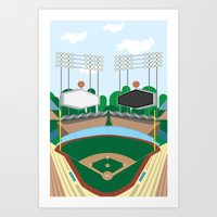 dodgers Art Prints featuring Dodger Stadium by Eric J. Lugo