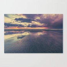 Ocean Sea Beach Water Clouds at Sunset - Pacific Coast Highway Long Beach, WA Canvas Print