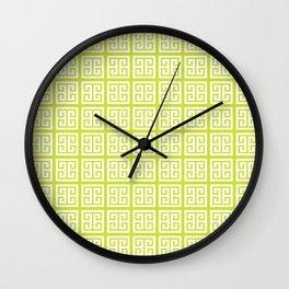 Pear Green Greek Key Pattern Wall Clock