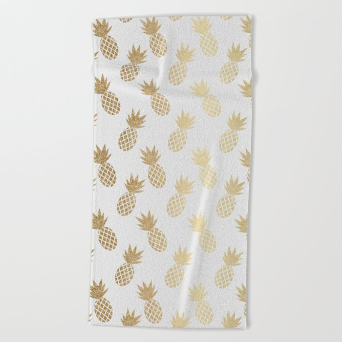 Gold Pineapple Pattern Beach Towel