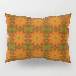 Autumnal Leaves Red and Green Repeating Pattern Pillow Sham