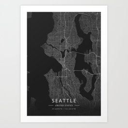 Seattle, United States - Dark Map Kunstdrucke