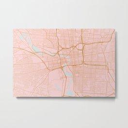 Columbus map, Ohio Metal Print