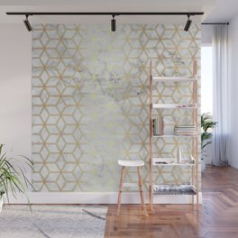 Geometric Hive Mind Pattern - Marble & Gold #510 Wall Mural