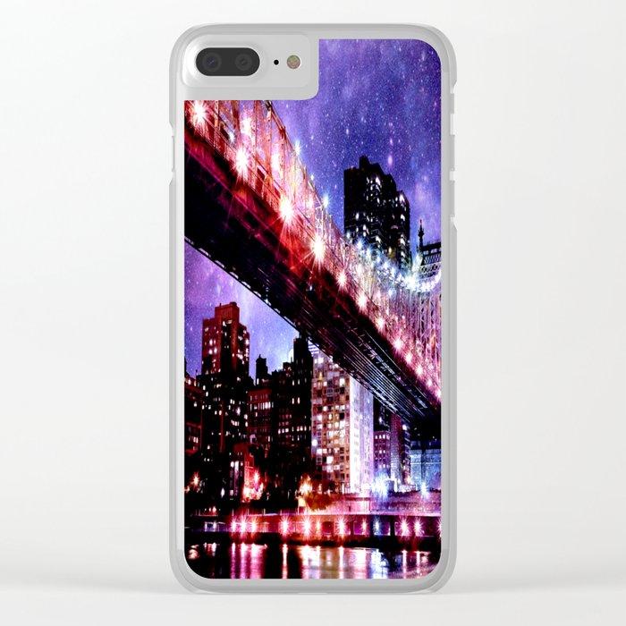 Majestic New York City: Manhattan Bridge Clear iPhone Case