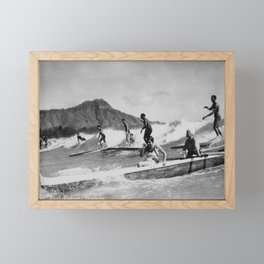 Vintage Surfing Hawaii Framed Mini Art Print