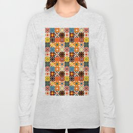 Maroccan tiles pattern with red an blue no2 Long Sleeve T-shirt